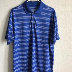 Nike golf polo shirt dri fit blue and white large